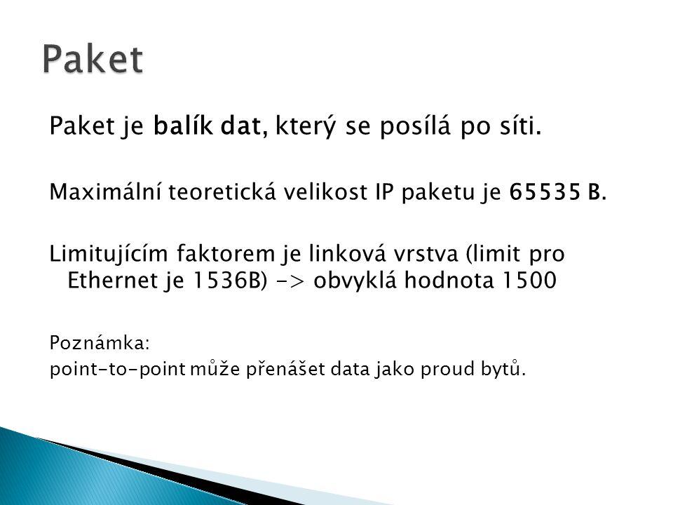 Paket je balík dat, který se posílá po síti. Maximální teoretická velikost IP paketu je 65535 B. Limitujícím faktorem je linková vrstva (limit pro Eth