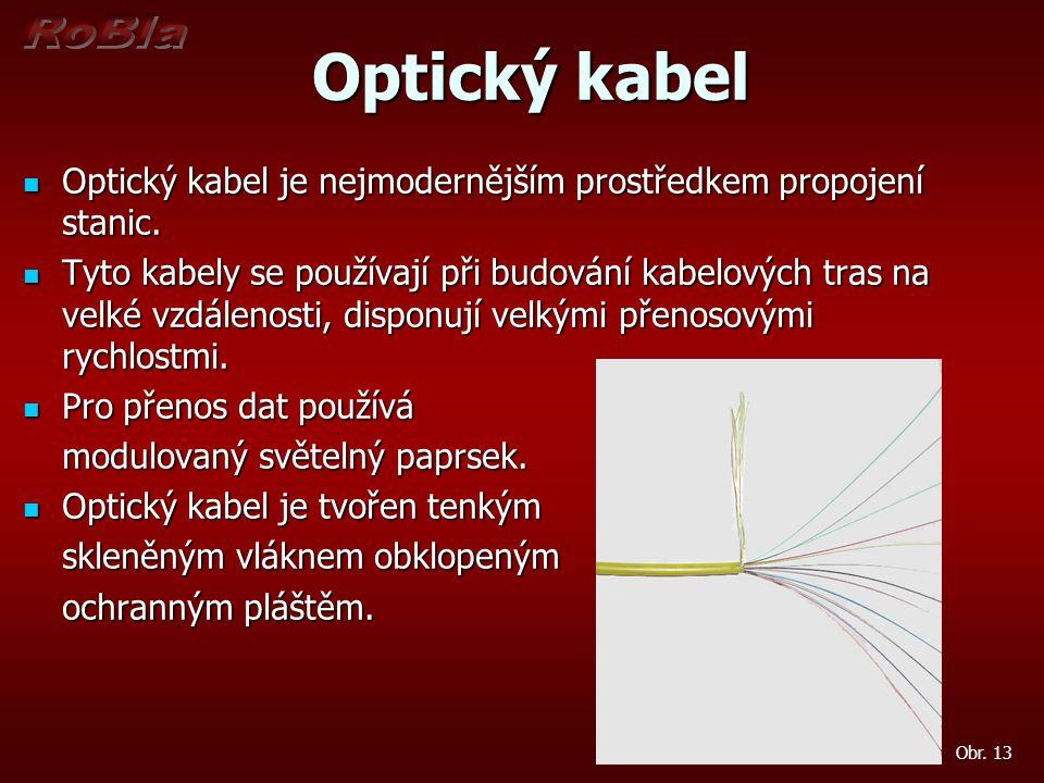 Optický kabel Optický kabel Optický kabel je nejmodernějším prostředkem propojení stanic. Optický kabel je nejmodernějším prostředkem propojení stanic