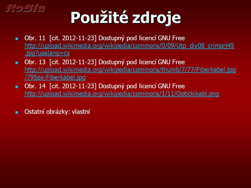 Použité zdroje Obr. 11 [cit. 2012-11-23] Dostupný pod licencí GNU Free http://upload.wikimedia.org/wikipedia/commons/0/09/Utp_diy08_crimprj45.jpg?usel