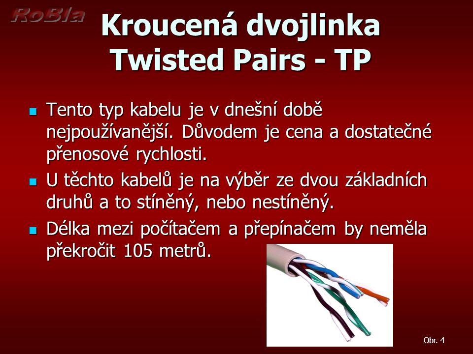 Kroucená dvojlinka Twisted Pairs - TP Kroucená dvojlinka Twisted Pairs - TP Tento typ kabelu je v dnešní době nejpoužívanější. Důvodem je cena a dosta