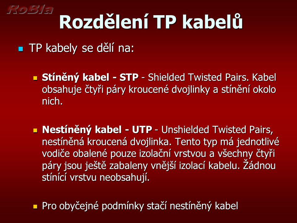 Rozdělení TP kabelů Rozdělení TP kabelů Nestíněný kabel - UTP Nestíněný kabel - UTP Stíněný kabel Stíněný kabel Obr.