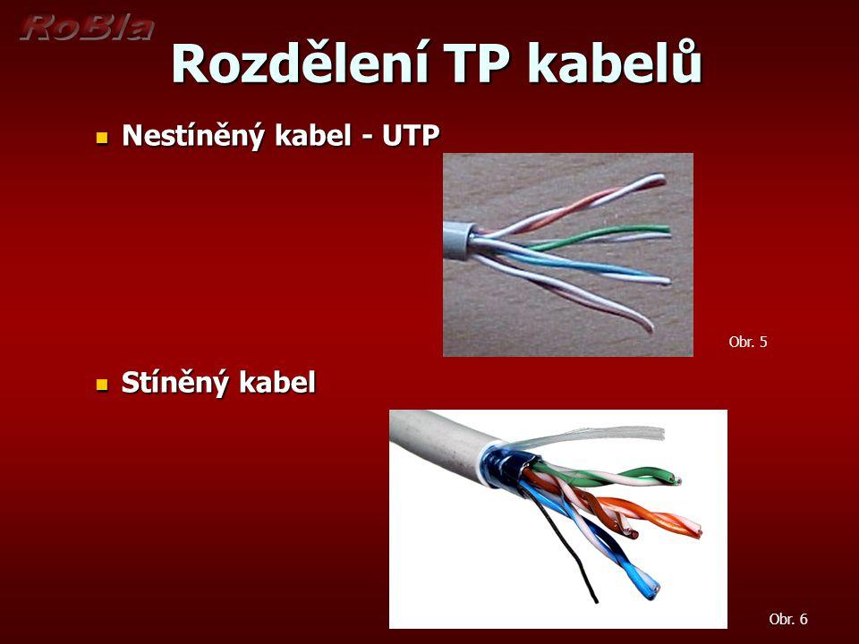 Rozdělení TP kabelů podle kategorie Rozdělení TP kabelů podle kategorie Kategorie 5e Kategorie 5e pro rychlosti do 100Mbps Kategorie 6 Kategorie 6 pro rychlosti do 1Gbps Kategorie 6a Kategorie 6a pro rychlosti do 10Gbps Kategorie 7 Kategorie 7 pro rychlosti do 10Gbps Obr.
