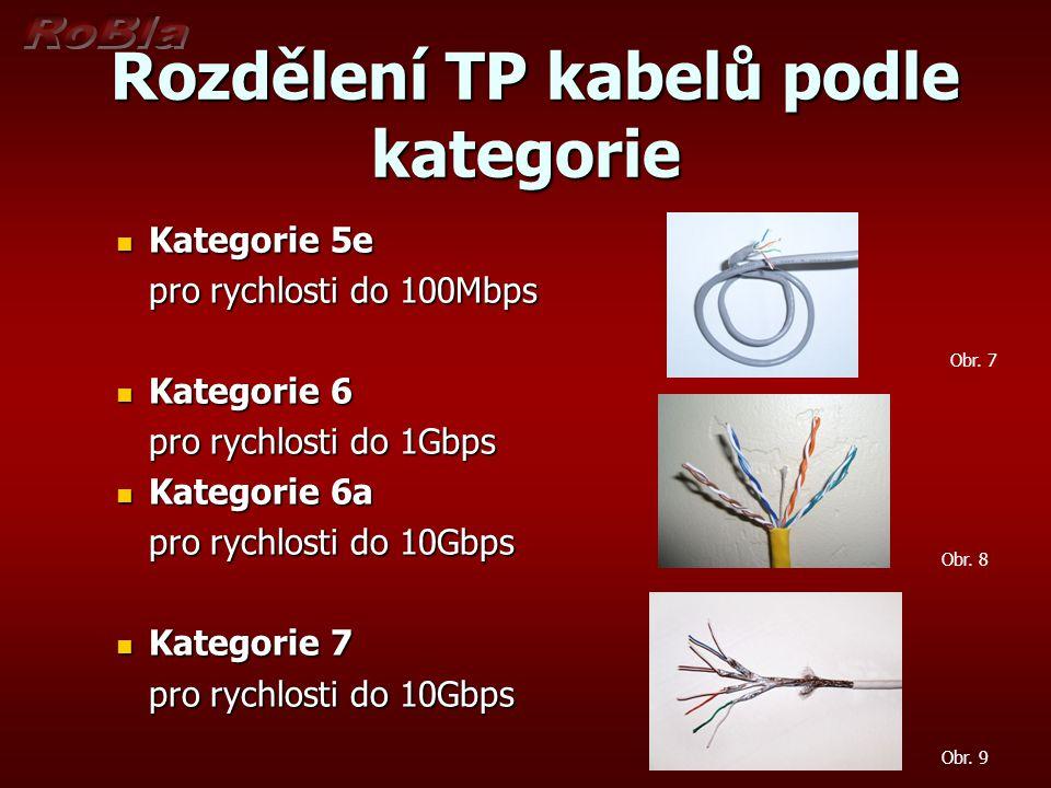 Rozdělení TP kabelů podle kategorie Rozdělení TP kabelů podle kategorie Kategorie 5e Kategorie 5e pro rychlosti do 100Mbps Kategorie 6 Kategorie 6 pro