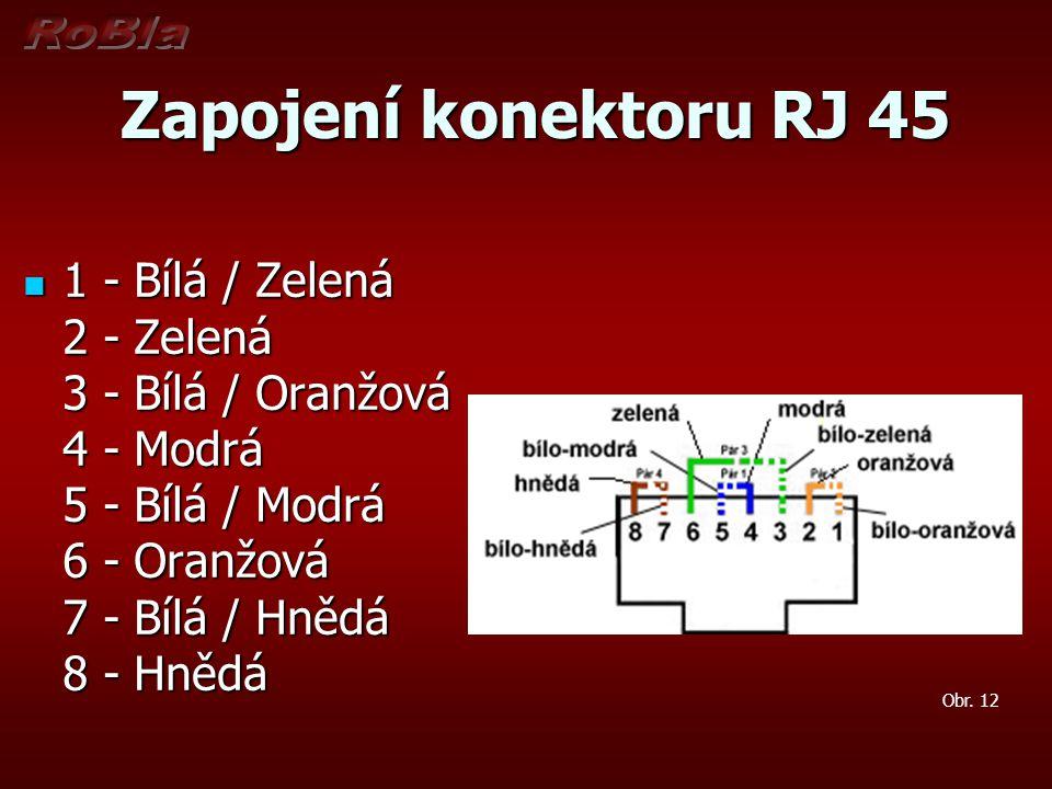 Zapojení konektoru RJ 45 Zapojení konektoru RJ 45 1 - Bílá / Zelená 2 - Zelená 3 - Bílá / Oranžová 4 - Modrá 5 - Bílá / Modrá 6 - Oranžová 7 - Bílá /
