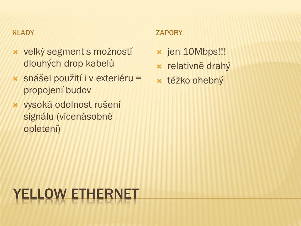 KLADYZÁPORY  velký segment s možností dlouhých drop kabelů  snášel použití i v exteriéru = propojení budov  vysoká odolnost rušení signálu (vícenásobné opletení)  jen 10Mbps!!.