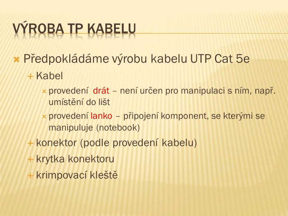  Předpokládáme výrobu kabelu UTP Cat 5e  Kabel  provedení drát – není určen pro manipulaci s ním, např.
