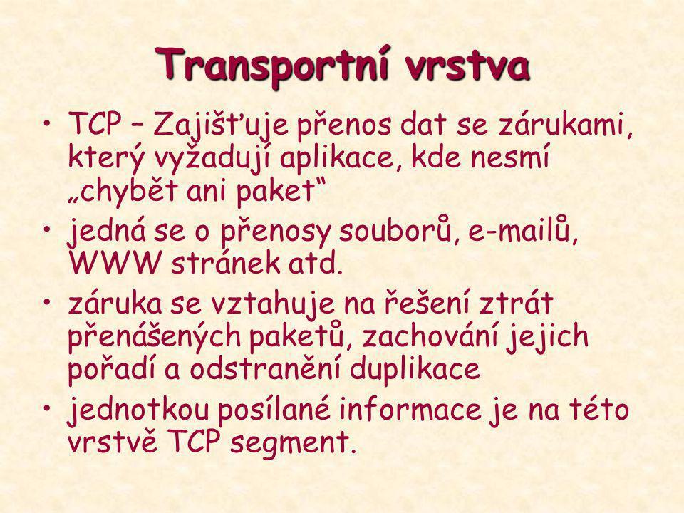 """Transportní vrstva TCP – Zajišťuje přenos dat se zárukami, který vyžadují aplikace, kde nesmí """"chybět ani paket"""" jedná se o přenosy souborů, e-mailů,"""