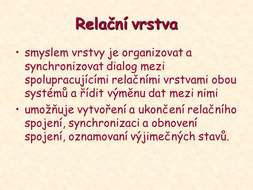 Relačnívrstva Relační vrstva smyslem vrstvy je organizovat a synchronizovat dialog mezi spolupracujícími relačními vrstvami obou systémů a řídit výměn
