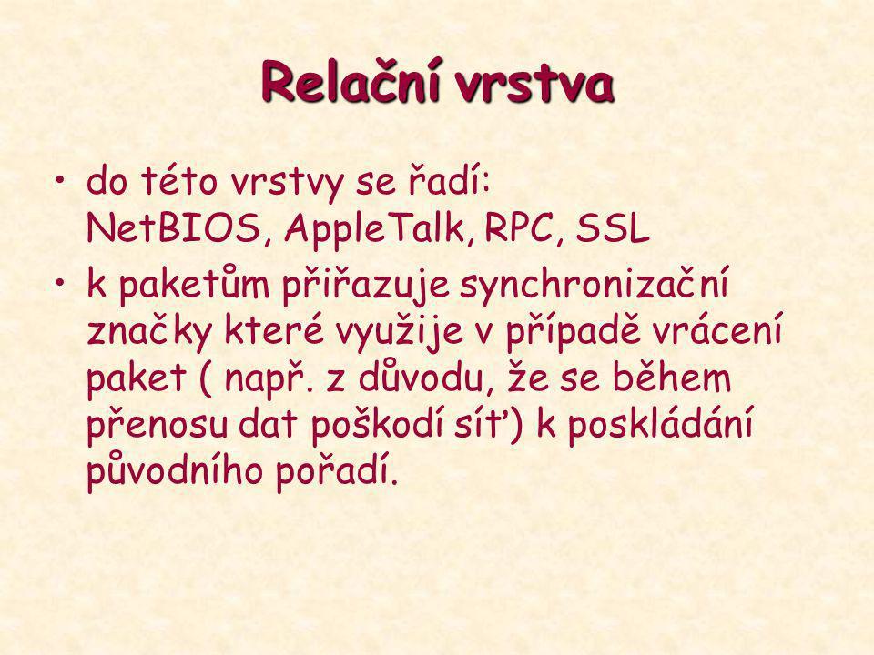 Relačnívrstva Relační vrstva do této vrstvy se řadí: NetBIOS, AppleTalk, RPC, SSL k paketům přiřazuje synchronizační značky které využije v případě vr