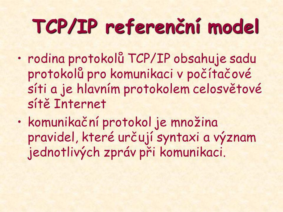 TCP/IP referenční model TCP/IP referenční model rodina protokolů TCP/IP obsahuje sadu protokolů pro komunikaci v počítačové síti a je hlavním protokol