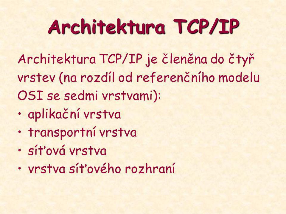 Architektura TCP/IP Architektura TCP/IP je členěna do čtyř vrstev (na rozdíl od referenčního modelu OSI se sedmi vrstvami): aplikační vrstva transport