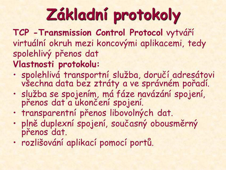 Základní protokoly TCP -Transmission Control Protocol vytváří virtuální okruh mezi koncovými aplikacemi, tedy spolehlivý přenos dat Vlastnosti protoko