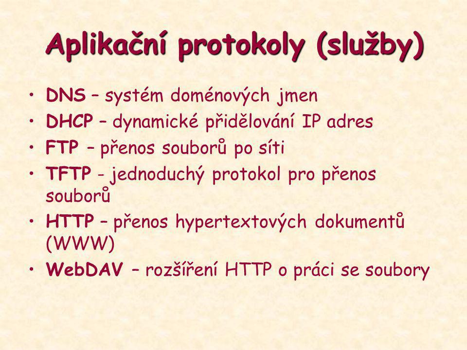 Aplikační protokoly (služby) DNS – systém doménových jmen DHCP – dynamické přidělování IP adres FTP – přenos souborů po síti TFTP - jednoduchý protoko