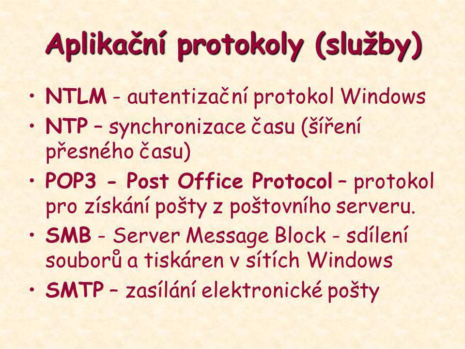Aplikační protokoly (služby) NTLM - autentizační protokol Windows NTP – synchronizace času (šíření přesného času) POP3 - Post Office Protocol – protok
