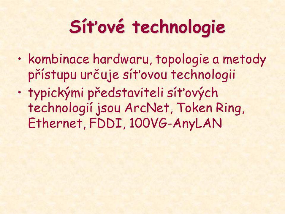 Síťové technologie kombinace hardwaru, topologie a metody přístupu určuje síťovou technologii typickými představiteli síťových technologií jsou ArcNet