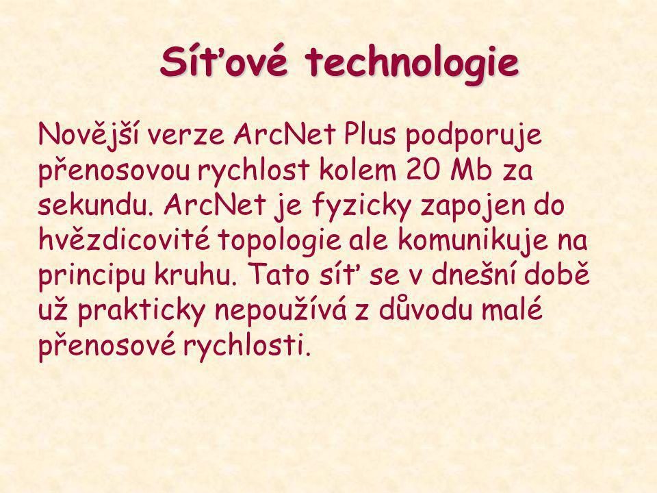 Síťové technologie Novější verze ArcNet Plus podporuje přenosovou rychlost kolem 20 Mb za sekundu. ArcNet je fyzicky zapojen do hvězdicovité topologie