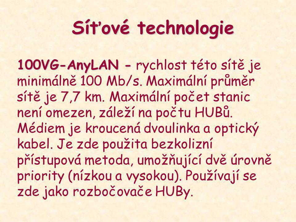 Síťové technologie 100VG-AnyLAN - 100VG-AnyLAN - rychlost této sítě je minimálně 100 Mb/s. Maximální průměr sítě je 7,7 km. Maximální počet stanic nen