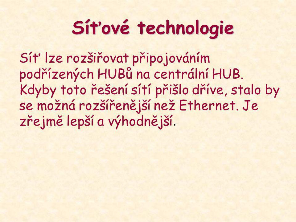 Síťové technologie Síť lze rozšiřovat připojováním podřízených HUBů na centrální HUB. Kdyby toto řešení sítí přišlo dříve, stalo by se možná rozšířeně