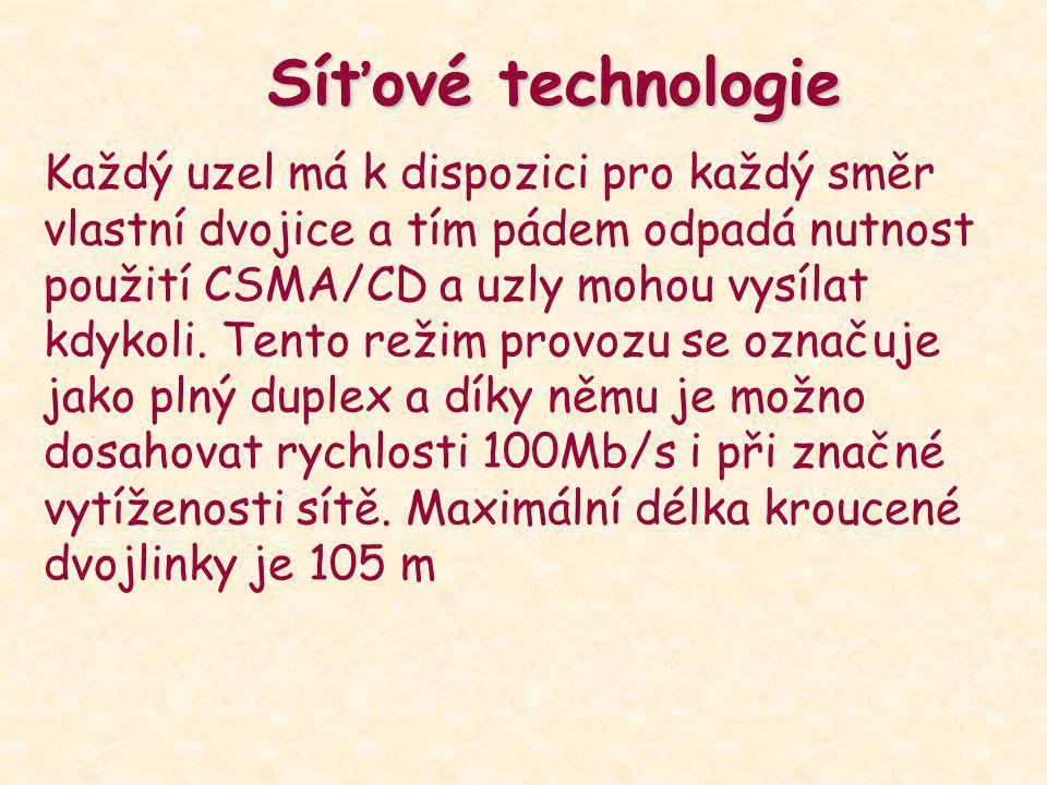 Síťové technologie Každý uzel má k dispozici pro každý směr vlastní dvojice a tím pádem odpadá nutnost použití CSMA/CD a uzly mohou vysílat kdykoli. T