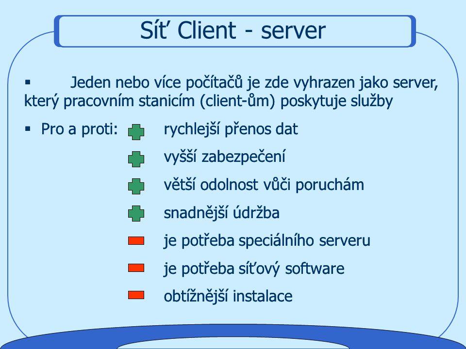 Jednotlivé stanice PC jsou si rovny, zařízení přepojená k jednomu počítači, a také data, mohou ostatní stanice využívat pomocí tzv. sdílení. Příklad s