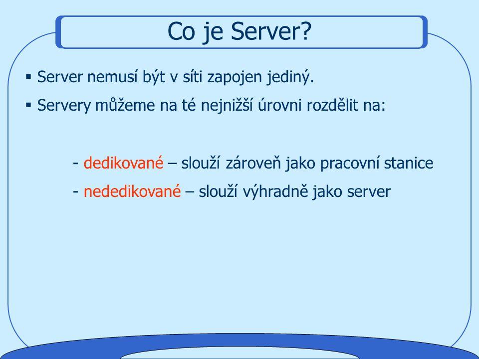 Co je Server?  Sítě typu Peer to Peer se skládají z menšího počtu počítačů, u nichž se o provoz v síti stará přímo operační systém daného počítače. 
