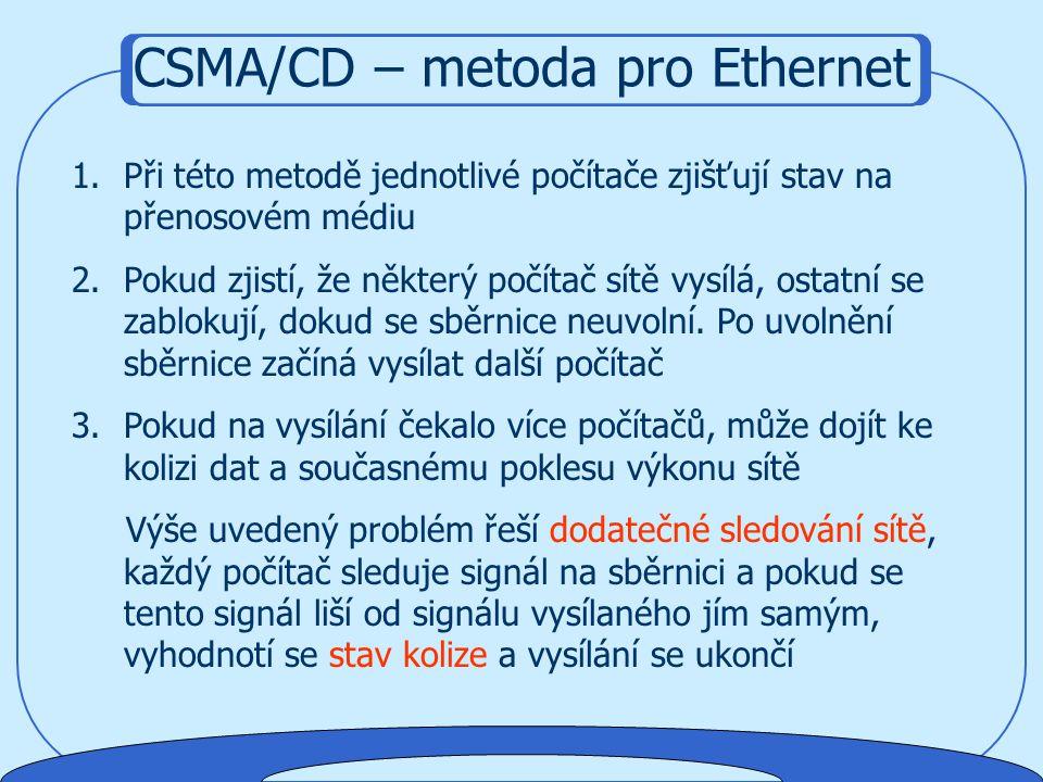 1. Řízené distribuované metody : bez centrálního arbitra, arbitrem je každý prvek sítě. V síti koluje speciální paket a počítač, který jej obdrží může