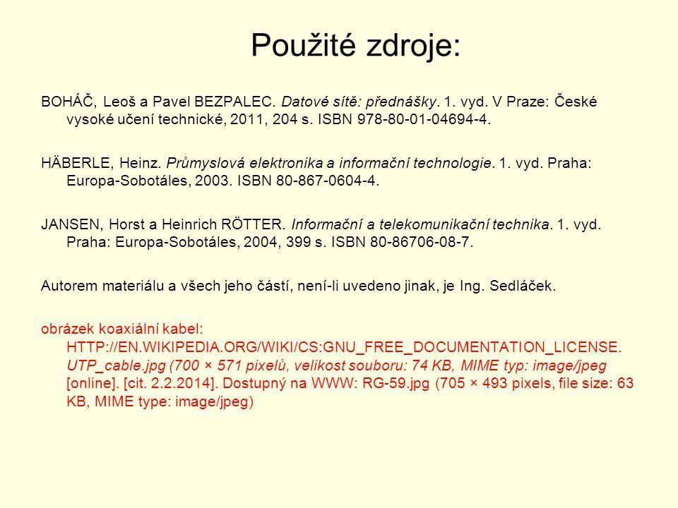Použité zdroje: BOHÁČ, Leoš a Pavel BEZPALEC. Datové sítě: přednášky. 1. vyd. V Praze: České vysoké učení technické, 2011, 204 s. ISBN 978-80-01-04694