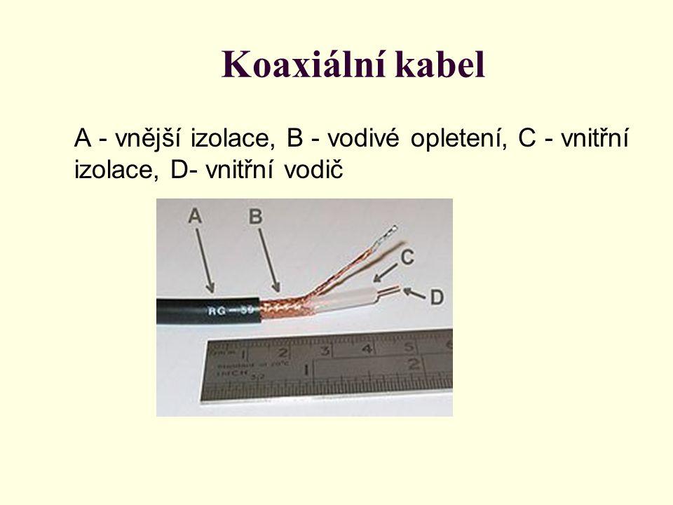 Koaxiální kabel A - vnější izolace, B - vodivé opletení, C - vnitřní izolace, D- vnitřní vodič