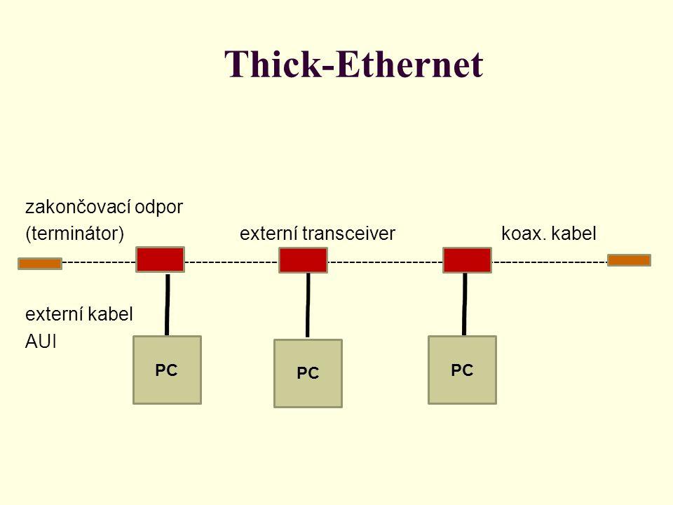 Thick-Ethernet Síť 10 Base 5 používá silný (žlutý) koaxiální kabel s průměrem 10 mm, s impedancí Z= 50 Ω, tlumením 8,5 dB na 100 m při 8,5 MHz a čtyřnásobným opletením.