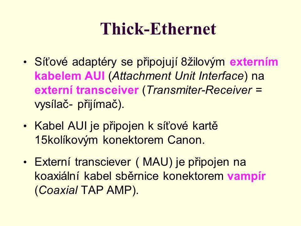 Thick-Ethernet Síťové adaptéry se připojují 8žilovým externím kabelem AUI (Attachment Unit Interface) na externí transceiver (Transmiter-Receiver = vysílač- přijímač).