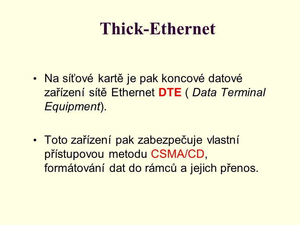 Thick-Ethernet Na síťové kartě je pak koncové datové zařízení sítě Ethernet DTE ( Data Terminal Equipment).