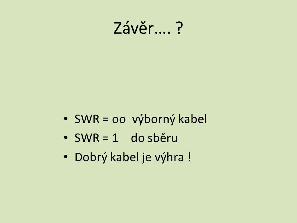 Závěr…. ? SWR = oo výborný kabel SWR = 1 do sběru Dobrý kabel je výhra !