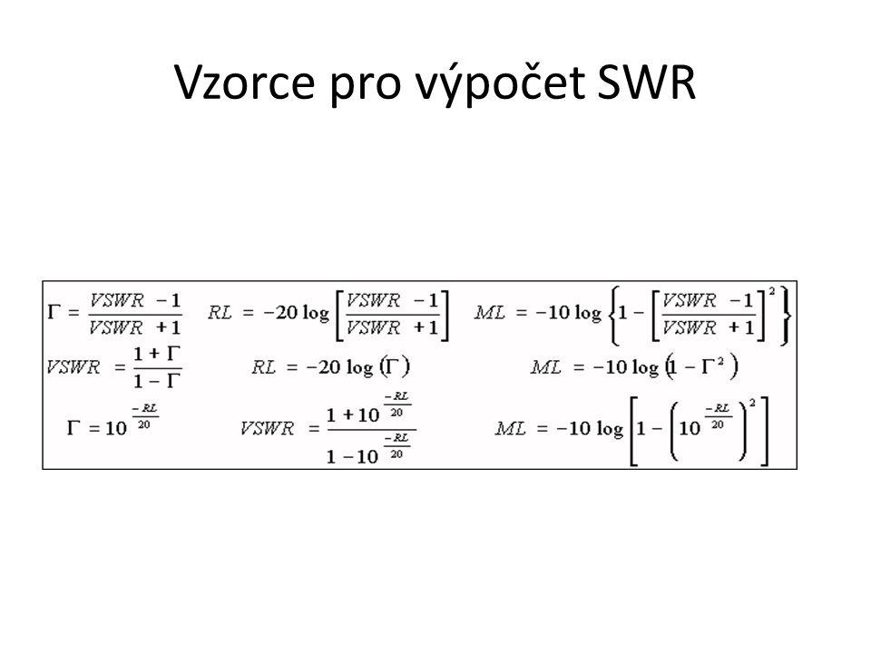 Vzorce pro výpočet SWR