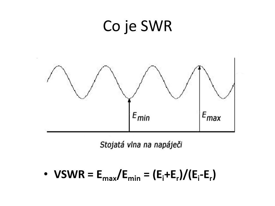 Co je SWR VSWR = E max /E min = (E i +E r )/(E i -E r )