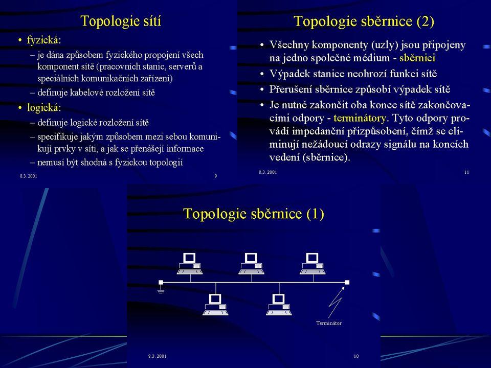 Topologie sítí - způsob propojení jednotlivých PC pomocí kabelů -> vytvoření sítě SBĚRNICOVÁ TOPOLOGIE - je poloduplexní, tzn. může jen přijímat nebo