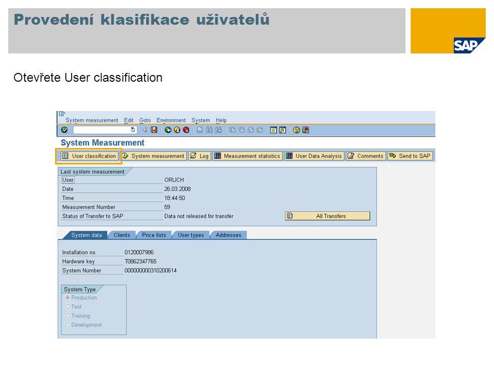 Provedení klasifikace uživatelů Otevřete User classification