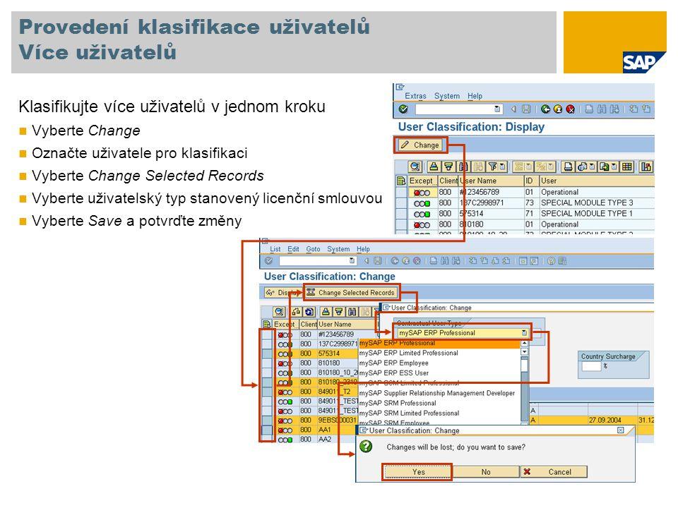 Provedení klasifikace uživatelů Více uživatelů Klasifikujte více uživatelů v jednom kroku Vyberte Change Označte uživatele pro klasifikaci Vyberte Change Selected Records Vyberte uživatelský typ stanovený licenční smlouvou Vyberte Save a potvrďte změny