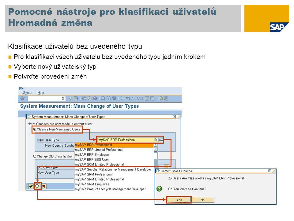 Pomocné nástroje pro klasifikaci uživatelů Hromadná změna Klasifikace uživatelů bez uvedeného typu Pro klasifikaci všech uživatelů bez uvedeného typu jedním krokem Vyberte nový uživatelský typ Potvrďte provedení změn