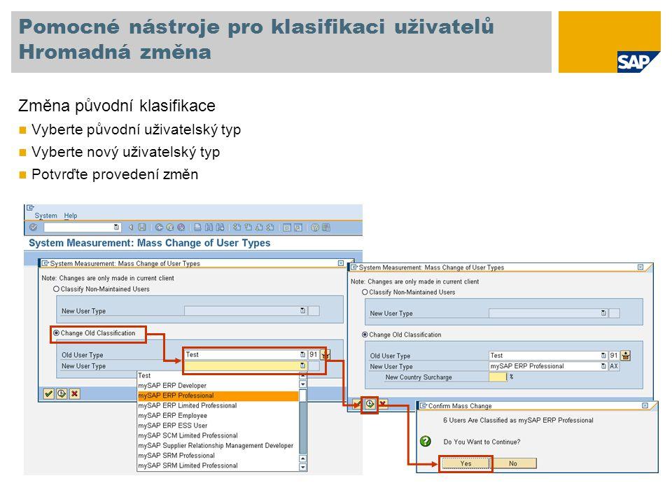 Pomocné nástroje pro klasifikaci uživatelů Hromadná změna Změna původní klasifikace Vyberte původní uživatelský typ Vyberte nový uživatelský typ Potvrďte provedení změn