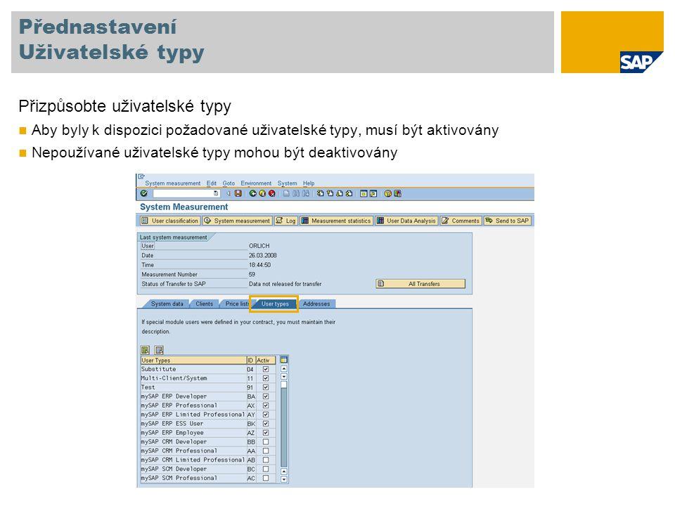 Klasifikace uživatelů typu Multiclient/-system Každý uživatel vyžaduje samostatnou licenci Pokud je uživatel vytvořen v několika klientech nebo systémech, může být klasifikován jako multiclient/-system user aby bylo zabráněno několikanásobnému počítání téhož uživatele Hlavní (účtovatelný) uživatel musí být řádně klasifikován v produktivním systému Více informací je dostupných v Příručce pro monitorování systému, verze 7.0, str.