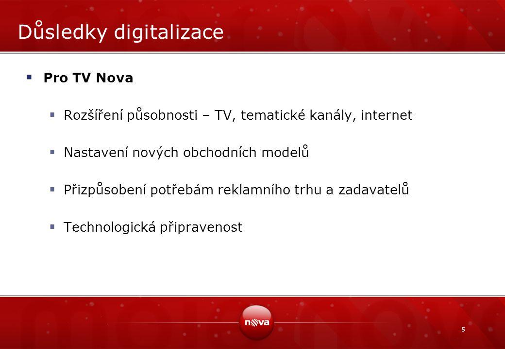 5 Důsledky digitalizace  Pro TV Nova  Rozšíření působnosti – TV, tematické kanály, internet  Nastavení nových obchodních modelů  Přizpůsobení potřebám reklamního trhu a zadavatelů  Technologická připravenost