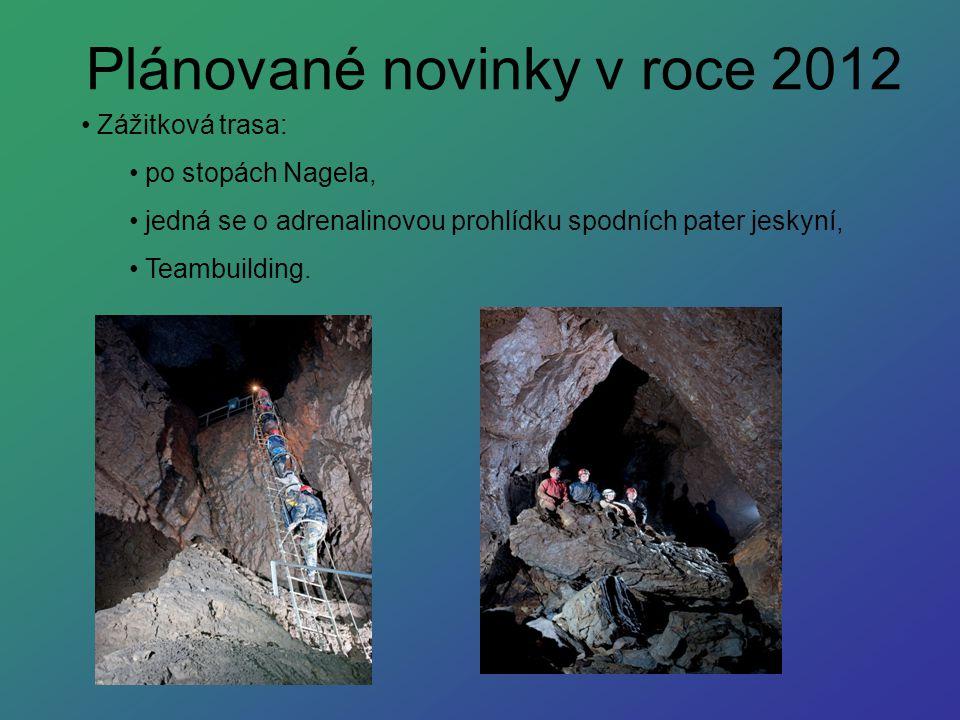 Plánované novinky v roce 2012 Zážitková trasa: po stopách Nagela, jedná se o adrenalinovou prohlídku spodních pater jeskyní, Teambuilding.