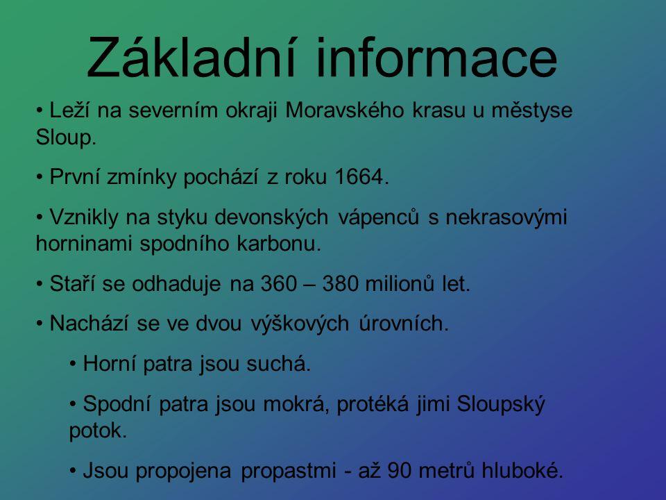 Základní informace Leží na severním okraji Moravského krasu u městyse Sloup. První zmínky pochází z roku 1664. Vznikly na styku devonských vápenců s n
