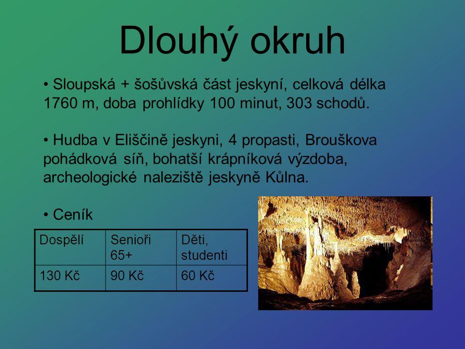 Dlouhý okruh Sloupská + šošůvská část jeskyní, celková délka 1760 m, doba prohlídky 100 minut, 303 schodů. Hudba v Eliščině jeskyni, 4 propasti, Brouš