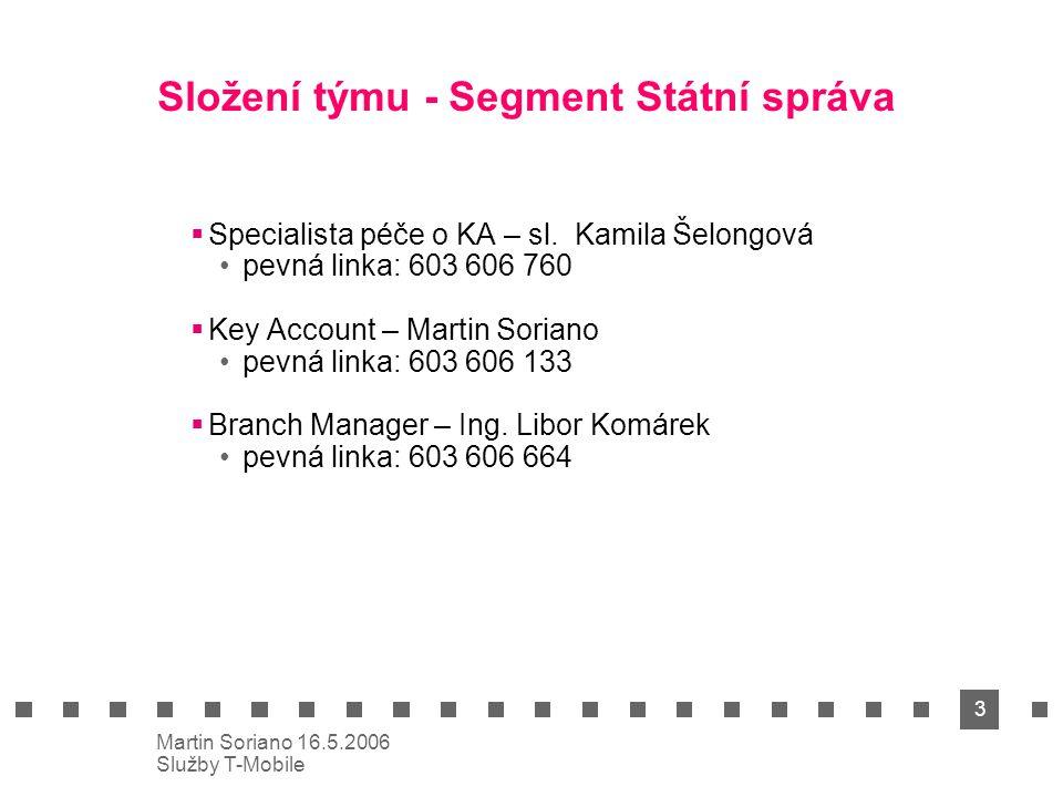 3 Martin Soriano 16.5.2006 Služby T-Mobile Složení týmu - Segment Státní správa  Specialista péče o KA – sl. Kamila Šelongová pevná linka: 603 606 76