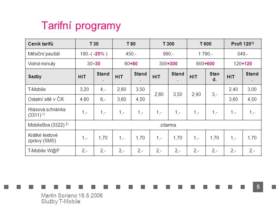 5 Martin Soriano 16.5.2006 Služby T-Mobile Tarifní programy Ceník tarifůT 30T 80T 300T 600Profi 120 3) Měsíční paušál190,-( -20% )450,-990,-1 790,-549