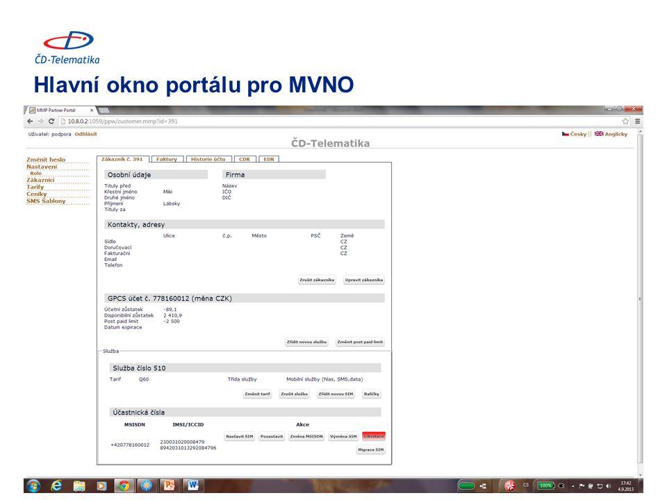Hlavní okno portálu pro MVNO 10