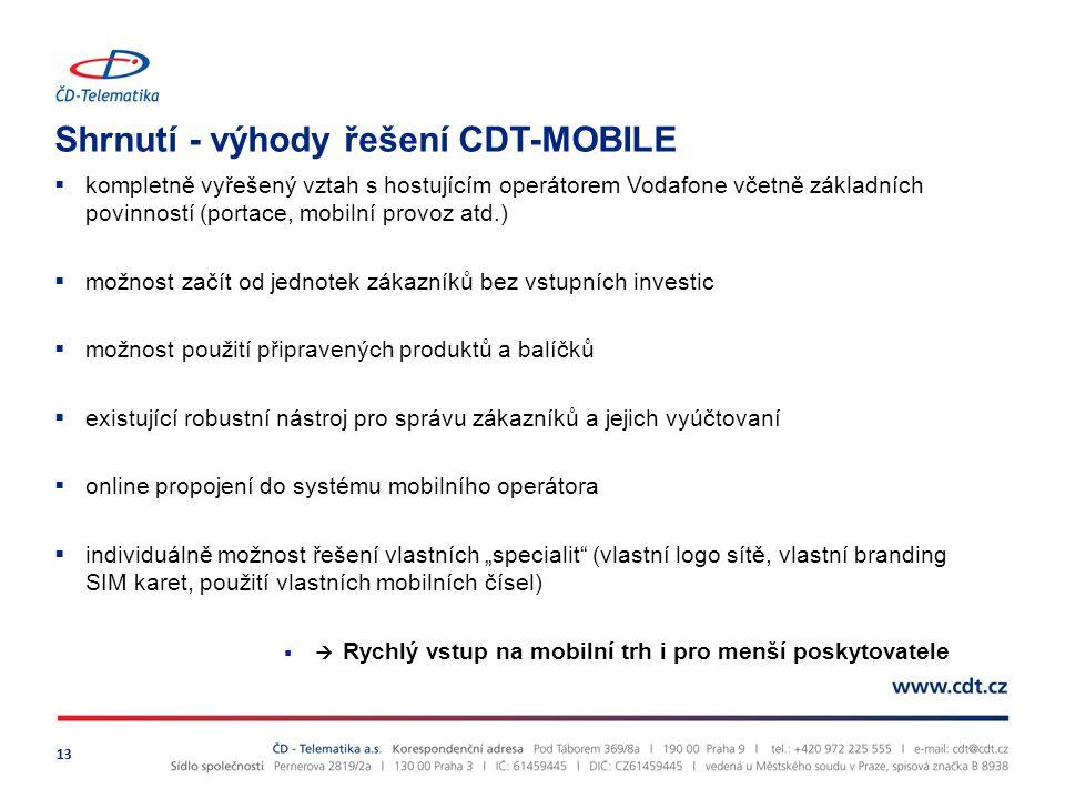 """Shrnutí - výhody řešení CDT-MOBILE 13  kompletně vyřešený vztah s hostujícím operátorem Vodafone včetně základních povinností (portace, mobilní provoz atd.)  možnost začít od jednotek zákazníků bez vstupních investic  možnost použití připravených produktů a balíčků  existující robustní nástroj pro správu zákazníků a jejich vyúčtovaní  online propojení do systému mobilního operátora  individuálně možnost řešení vlastních """"specialit (vlastní logo sítě, vlastní branding SIM karet, použití vlastních mobilních čísel)  Rychlý vstup na mobilní trh i pro menší poskytovatele"""