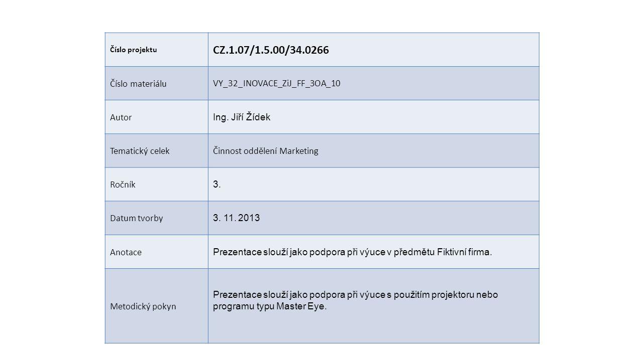 Číslo projektu CZ.1.07/1.5.00/34.0266 Číslo materiáluVY_32_INOVACE_ZiJ_FF_3OA_10 Autor Ing.