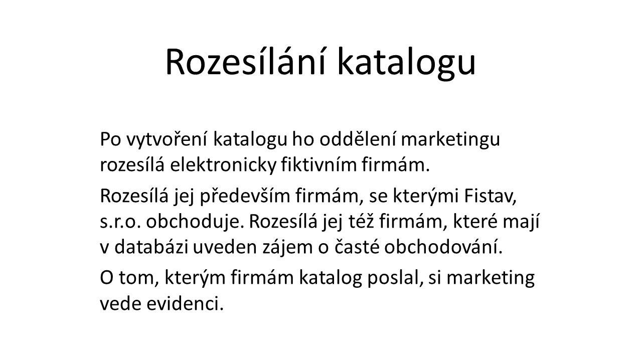 Po vytvoření katalogu ho oddělení marketingu rozesílá elektronicky fiktivním firmám.